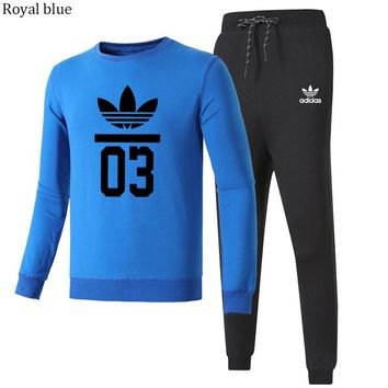 ADIDAS Clover autumn and winter trend men and women casual sportswear two-piece Royal blue