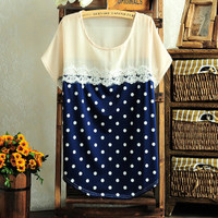 Cute Dots Blouse with Lace Insert