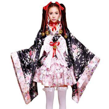 6pcs/set Women Japanese Kimono Maid Animation Clothing Cosplay Suits Cherry Dress