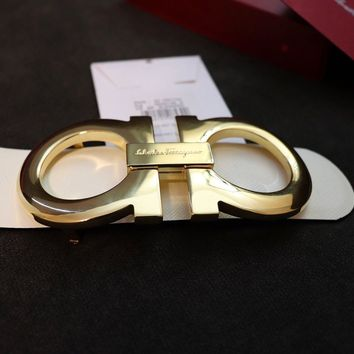 Authentic White Salvatore Ferragamo Reversible Belt Gold XL Buckle 90/36 30-32