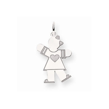 14k White Gold Heart Girl With Bow Kiss Charm