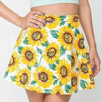 Sunflower Print A-Line Zipper Skirt