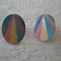 Mother Of Pearl Pastel Inlay Vintage Pierced Oval Ladies Earrings