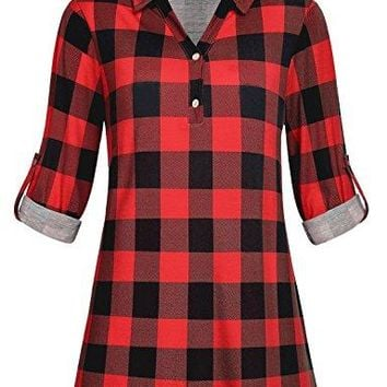 Cestyle Womens Collared Rollup 34 Sleeve Casual Loose Lightweight Knit Polo Plaid Shirt