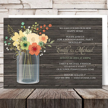 Mason Jar Housewarming Invitations - Rustic Orange Green Floral and Brown Wood design - Printed Invitations