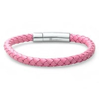 Oxford Ivy Braided Pink Leather 6mm Bracelet with Stainless Steel Locking Clasp 7 1/2 inches