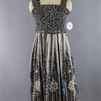 Vintage 1950s Cotton Sundress Black and Aqua Chrysanthemums