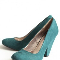 blissful season pumps in deep teal at ShopRuche.com