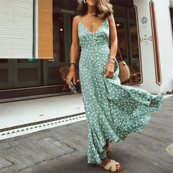 2019 Womens Summer Boho Maxi Long Dress Evening Party Beach Dresses Sundress Floral Print Sleeveless Halter Dress Vestidos