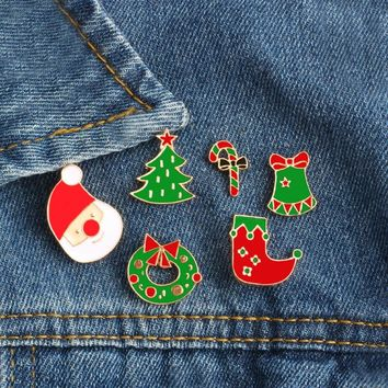 6Pcs/set Christmas Hat Sock Tree Crutch Dress Brooch Button Pins Badge Pin Denim Jacket Clothing Backpack Jewelry Christmas Gift