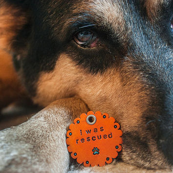 I Was Rescued - Custom Leather Dog Tag - Shelter pet love - adopt a pet - HALF of the sale price is donated to All Breed Rescue Shelter