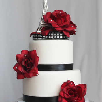 Red Rose and Paris Eiffel Tower Cake Topper
