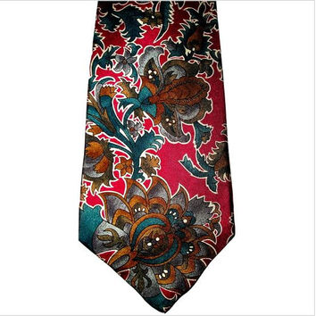 Vintage CHRISTIAN DIOR Monsieur Teal Red Floral Art Nouveau Revival All Silk Necktie - Mint condition