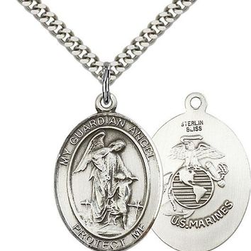 925 Sterling Silver Guardian Angel Marine Corp Military Catholic Medal Necklace 617759470673