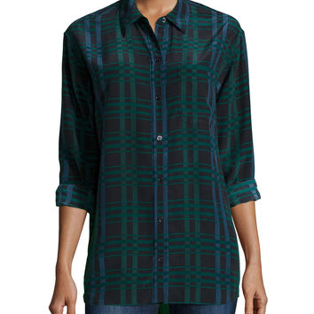 Daddy Long-Sleeve Plaid Blouse, Ink Multi, Size: