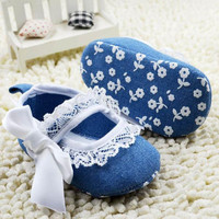 Cute Lace Bowknot Baby Girls Blue Denim Princess Toddler First Walkers