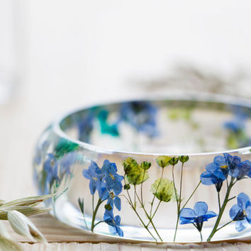 Real Flower Bangle - Blue Green, Forget me Nots Jewelry , Something Blue , Botanical Jewellery , Pressed Flower Bangle , Resin Bangle