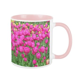 Pink Tulips Floral Coffee Mug