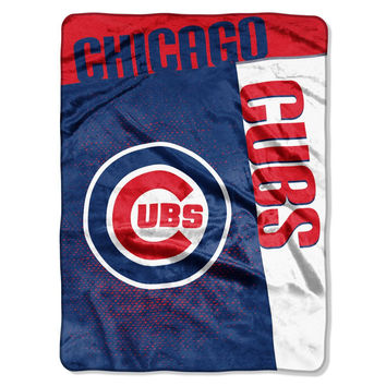 "Chicago Cubs 60""x80"" Royal Plush Raschel Throw Blanket - Strike Design"