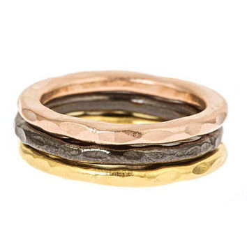 NATALIA: Three Tone Hammered Stackable Ring Set
