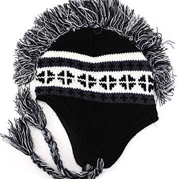 Enimay Men's Women's Mohawk Beanie Cold Weather Winter Hat Skull Cap Black