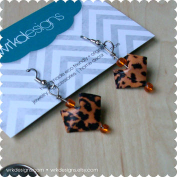 Leopard Print 3D Origami Paper Heart Earrings - Upcycled Magazines - OOAK