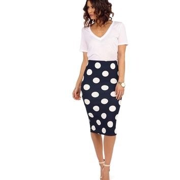 Navy Sometime Soon Pencil Skirt