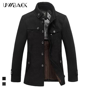 Uwback Men Trench Coats 2017 Brand Winter Stand Collar Black Thicken Wool Overcoats Slim Fashion Warm Winter Jackets M-3XL XA100