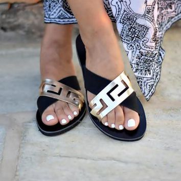 Sandals, Greek leather sandals, Meander sandals, Ancient greek sandals, Leather sandals, Womens shoes, Handmade sandals, Womens sandals