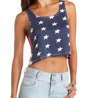 Stars & Stripes Cropped Tank Top by Charlotte Russe - Ivory Combo