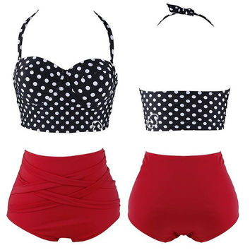 Vintage Polka Dot High Waist Halterneck & Bikinis Set Swimsuit