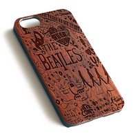The Beatles Vintage Post wood iPhone case laser engraved iPhone 7 6 6S Plus case WA062