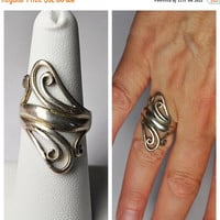 ON SALE Vintage 925 Silver Swirl Ring, Openwork, Swirled, Long, Statement Ring, Size 7, So Pretty!  #B071