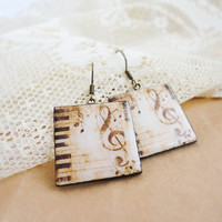 Vintage piano music  earrings by CitrusCat on Etsy