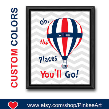 oh the place you'll go hot air balloon kids room decor nursery gift ideas baby room art motivational nursery dr seuss nursery decor navy red