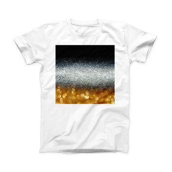 The Unfocused Silver Sparkle with Gold Orbs ink-Fuzed Front Spot Graphic Unisex Soft-Fitted Tee Shirt