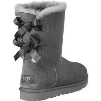 UGG Fashion Winter Women Cute Bowknot Flat Warm Snow Ankle Boots Grey G