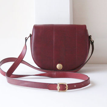 Vintage Fendi Burgandy Leather Shoulder Body Cross handbag purse Authentic 80s
