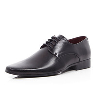 River Island MensBlack laser stripe formal shoes