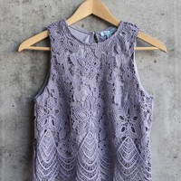 anastasia sleeveless lace crop top - lilac grey