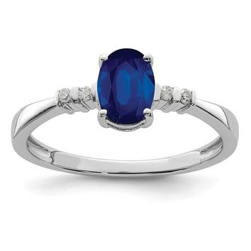 Sterling Silver Diamond And Blue Sapphire Oval Ring