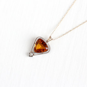 Antique Platinum & 10k Yellow Gold Citrine and Diamond Necklace - Vintage 1910s Edwardian Stick Pin Conversion Pendant Dainty Fine Jewelry