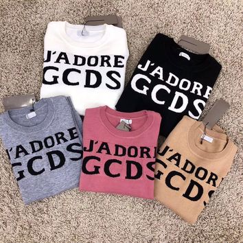 GCDS Women Casual Fashion All-match Classic Letter Logo Long Sleeve Knit Sweater Tops