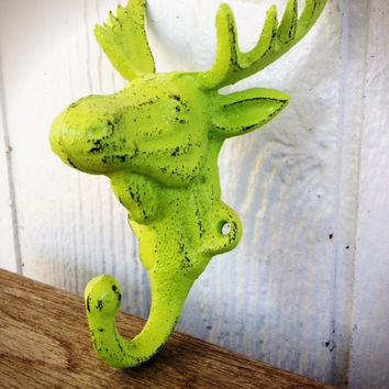 Vibrant Summer Lime Green  Moose Wall Hook – Funky Shabby Chic Cabin Decor