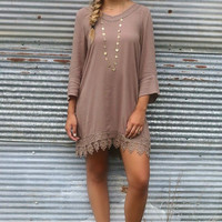 The Vienna Mocha Bell Sleeve Shift Dress With Cutout Details & Crochet Lace Hem