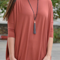 Piko 3/4 Length Sleeve Piko Top- Rust