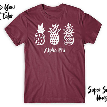 Alpha Phi Pineapple Trio Choose Your TShirt Color!