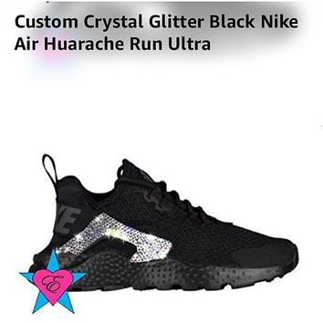 Custom Crystal Glitter Black Nike Air Huarache Run Ultra