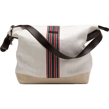 Gucci Men's Web White Canvas Large Messenger Bag 308838