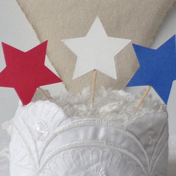 Patriotic Stars Cupcake Toppers, Set of 24 Red White and Blue Dessert Table Food Picks, Memorial Day Cake Topper, Fourth of July Decor